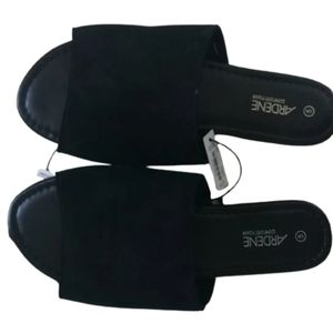 Ardene Black Slide Mule Sandals 5 NWT